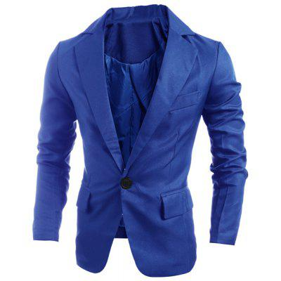 Elegant Pure Color Turn-Down Collar Long Sleeve Men's Single Breasted Blazer