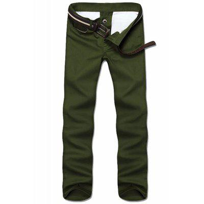 Buy ARMY GREEN Straight Leg Solid Color Zipper Fly Men's Nine Minutes Of Pants for $14.58 in GearBest store