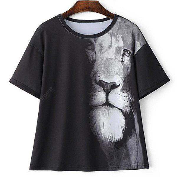 Casual Round Neck Short Sleeve Lion Print T-Shirt For Women