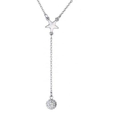 Star Shape Rhinestoned Ball Pendant Necklace