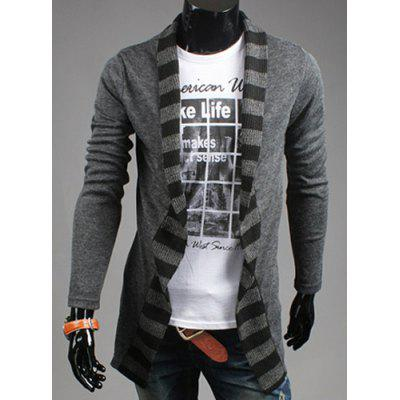 Turn-Down Collar Stripes Knitting Splicing Long Sleeve Men's Cardigan