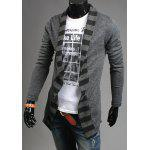 cheap Turn-Down Collar Stripes Knitting Splicing Long Sleeve Men's Cardigan
