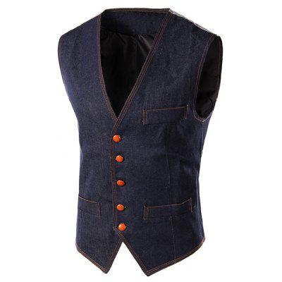 Slim Fit Denim Casual Vest