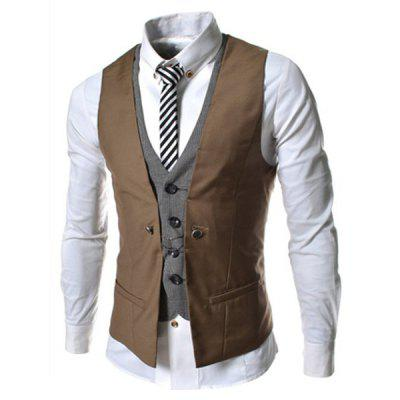 Buy Faux Twinset V-Neck Single Breasted Color Block Sleeveless Waistcoat For Men BROWN XL for $15.46 in GearBest store