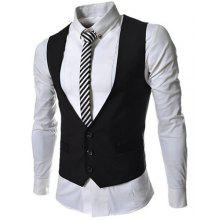 Hit Color Stereo Pocket Single-Breasted V-Neck Sleeveless Waistcoat For Men
