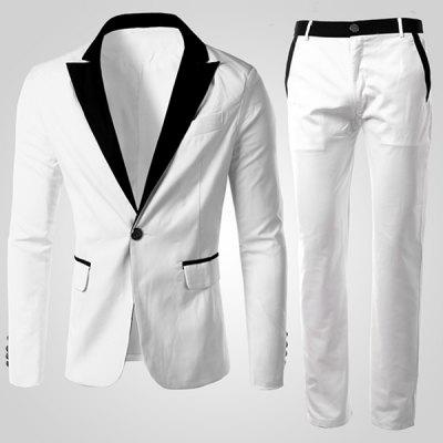 Buy WHITE Men's Single Button Long Sleeves Color Block Suit (Blazer+Pants) for $40.14 in GearBest store