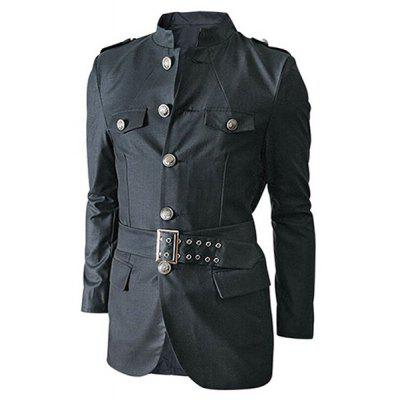 Multi-Pocket Epaulet and Belt Design Stand Collar Long Sleeves Jacket For Men