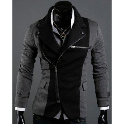 Irregular Inclined Zipper Fly Color Splicing Lapel Long Sleeves Jacket For Men