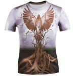 3D Eagle and Bole Printed Round Neck Short Sleeve T-Shirt For Men - COLORMIX