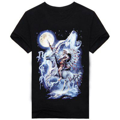 Buy BLACK 3D Wolf and Indians Print Round Neck Short Sleeves Black T-Shirt For Men for $4.37 in GearBest store