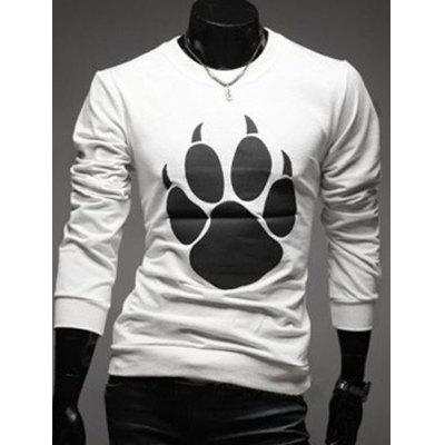 Round Neck Bear's Paw Design Long Sleeve T-Shirt For Men