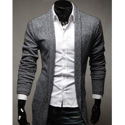 Turn-Down Collar Slimming Long Sleeve Men's Cardigan