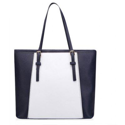 Casual Color Matching and PU Leather Design Women's Shoulder Bag