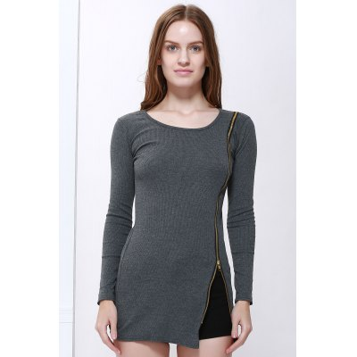 Buy DEEP GRAY Solid Color Scoop Neck Zip Decorated Women's Long Sleeve Dresses for $13.64 in GearBest store
