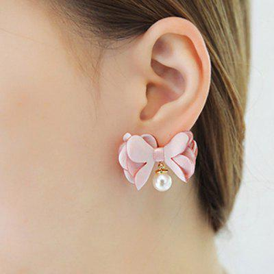 Pair of Lace Bowknot Shape Faux Pearl Stud Earrings