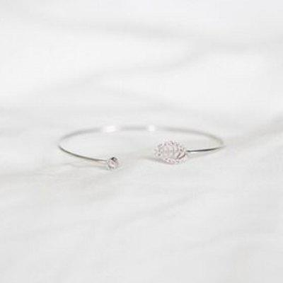 Chic Rhinestone Hollow Out Leaf Cuff Bracelet For Women