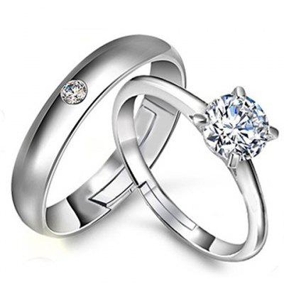 Pair of Alloy Rhinestone Ring For Lovers