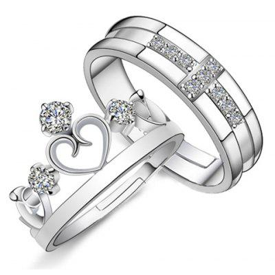 Pair of Rhinestoned Crown Heart Rings For Lovers