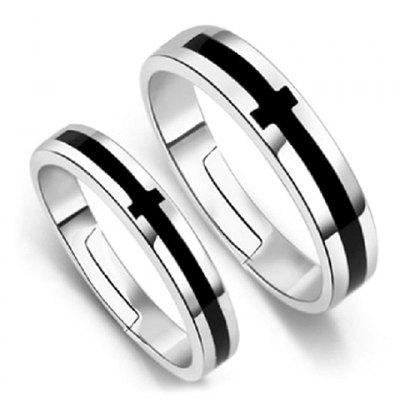 Pair of Vintage Alloy Cross Ring For Lovers