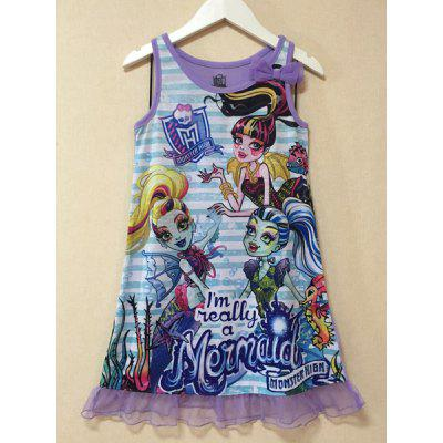 Fashionable Sleeveless Cartoon Pattern Lace Spliced Dress For Girl