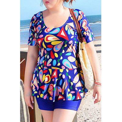Sweet U-Neck Geometrical Print Short Sleeve Swimsuit For Women