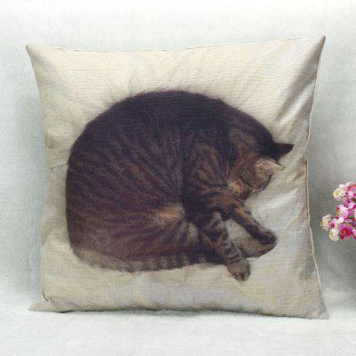 Sleeping Cat Pattern Square Shape Pillow Case(Without Pillow Inner)
