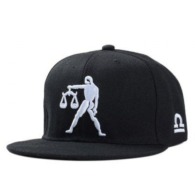 Stylish Man and Balance Scales Embroidery Black Baseball Cap For Men