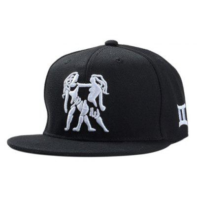 Stylish Person Embroidery Black Baseball Cap For Men