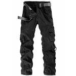 Casual Solid Color Multi-Pocket Straight Leg Zipper Fly Cargo Pants For Men - BLACK