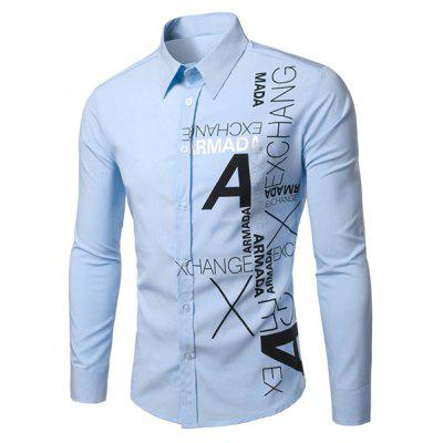 Stylish Turn-Down Collar Letters Pattern Print Long Sleeve Men's Shirt