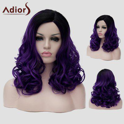 Adiors Fluffy Wavy Synthetic Trendy Long Black Ombre Dark Purple Capless Universal Wig