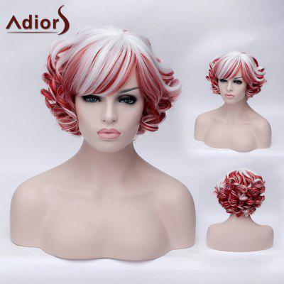 Adiors Red and White Highlight Synthetic Short Side Bang Fluffy Curly Wig