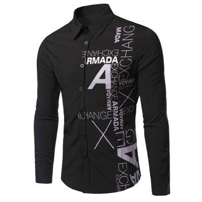 Stylish Letters Print Long Sleeve Black Shirt For Men