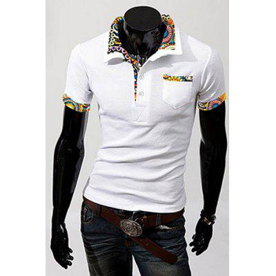 Turn-Down Collar Floral Print Splicing Patch Pocket Short Sleeve Men's Polo Shirt