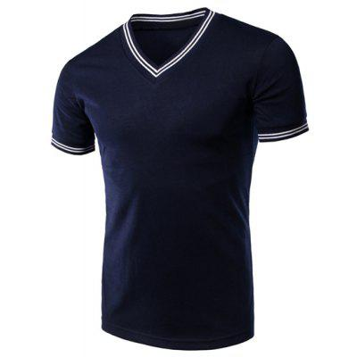 Solid Color Stripe Cuff V-Neck Short Sleeves T-Shirt For Men