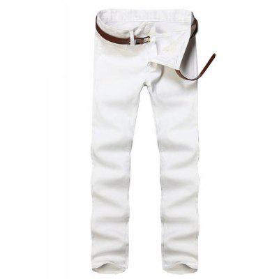 Straight Leg Solid Color Zipper Fly Men's Pants