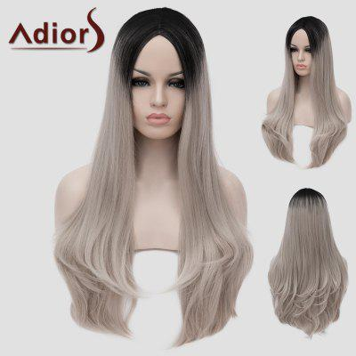 Charming Lolita Black Ombre Silvery Gray Fluffy Wavy Synthetic Long Women's Cosplay Wig