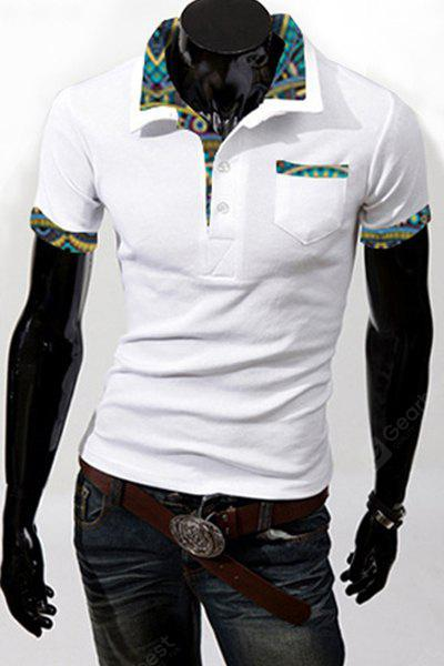 Turn-Down Collar Patch Pocket Floral Print Splicing Short Sleeve Men's Polo Shirt