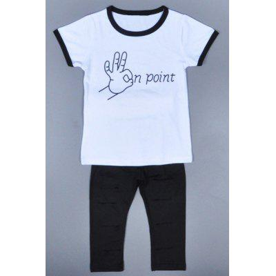 Casual Short Sleeve OK Point T-Shirt + Broken Hole Pants Girl's Twinset
