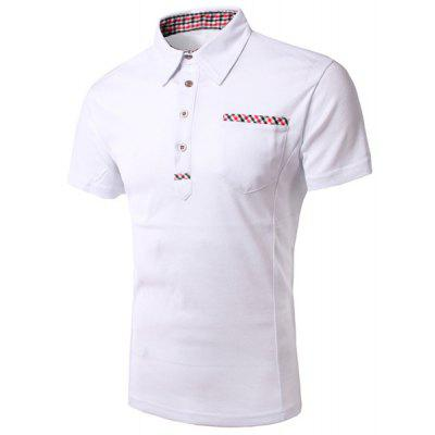 Buy Turn-Down Collar Plaid Print Splicing Short Sleeve Men's Polo Shirt, WHITE, M, Apparel, Men's Clothing, Men's T-shirts, Men's Short Sleeve Tees for $11.93 in GearBest store