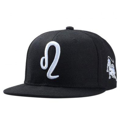 Stylish Zodiac Leo Logo Shape Embroidery Black Baseball Cap For Men