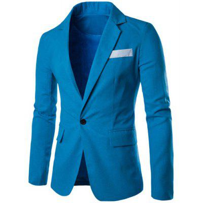One Button Single-Breasted Color Splicing Lapel Long Sleeves Linen Blended Blazer For Men