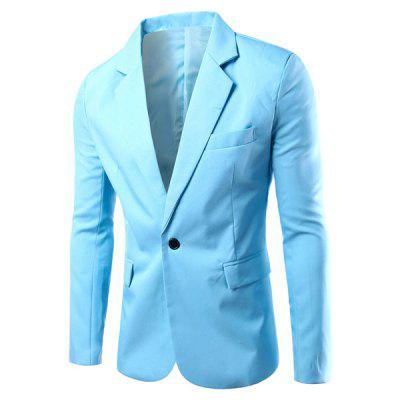 Turn-Down Collar Solid Color Single Breast Long Sleeve Men's Blazer