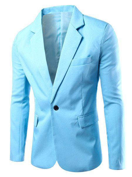 Buy Turn-Down Collar Solid Color Single Breast Long Sleeve Men's Blazer L LIGHT BLUE
