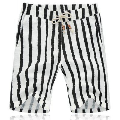Lace Up  Stripe Fifth Pants Beach Loose Shorts For Men