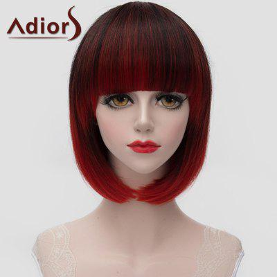 Adiors Fashion Short Full Bang Straight Tail Adduction Black Ombre Red Synthetic Wig