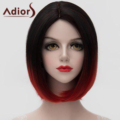 Adiors Stunning Black Red Gradient Short Bob Style Straight Synthetic Universal Wig