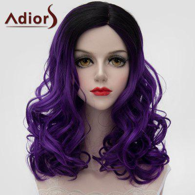Adiors Black Ombre Dark Purple Lolita Medium Fluffy Wavy Synthetic Wig