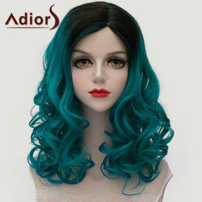 Adiors Black Ombre Blackish Green Medium Lolita Shaggy Wave Synthetic Wig