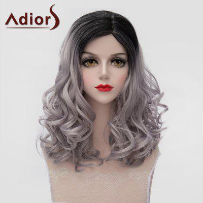 Adiors Lolita Style Medium Black Gray Gradient Shaggy Wave Synthetic Wig